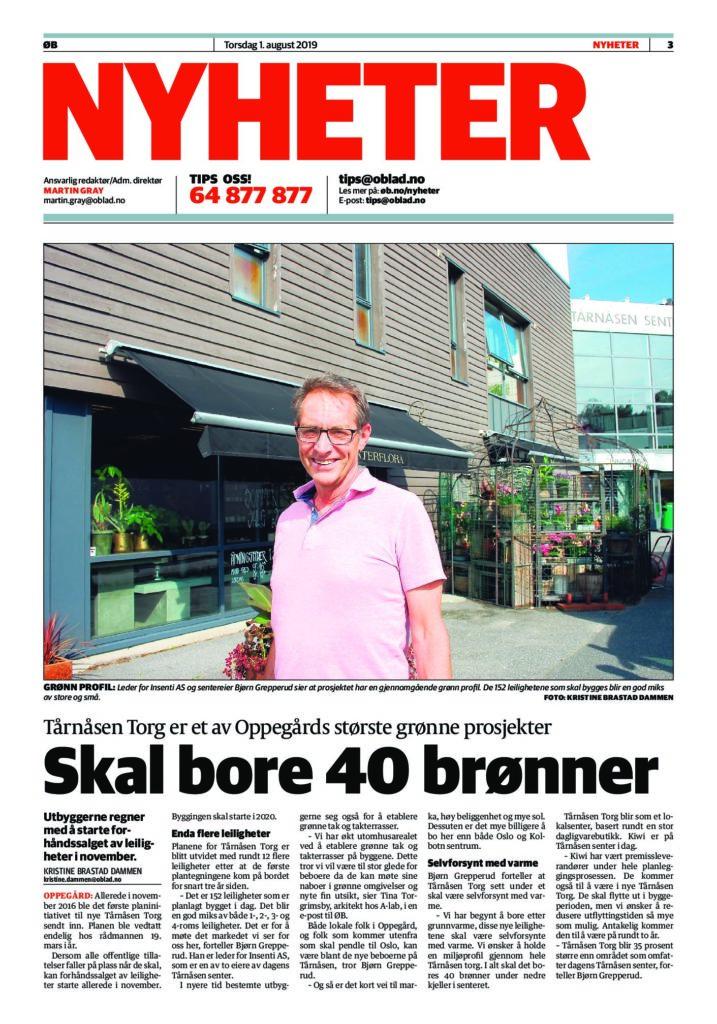 2019-08-01 Østlandets Blad Tårnåsen grønt prosjekt